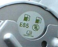 Flex-fuel label on fuel door