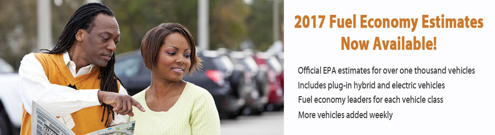 2017 Fuel Economy Estimates Now Available.  Official estimates for more than 1000 vehicles.  Includes plug-in hybrid and electric vehicles.  Fuel economy leaders for each class.  More vehicles added weekly.