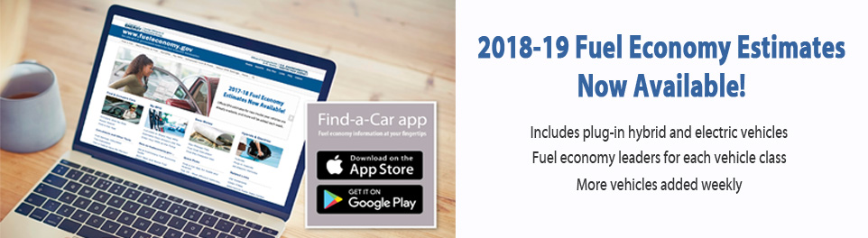 2018-19 Fuel Economy Estimates Now Available!  Includes plug-in hybrid and electric vehicles.  Fuel economy leaders for each class. More vehicles added weekly
