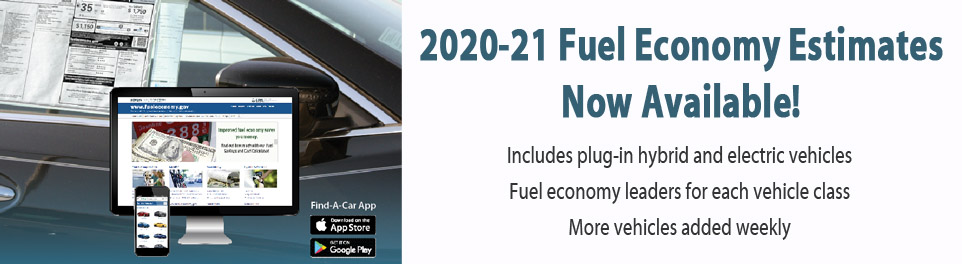 2020-21 Fuel Economy Estimates Now Available!  Includes plug-in hybrid and electric vehicles.  Fuel economy leaders for each class. More vehicles added weekly