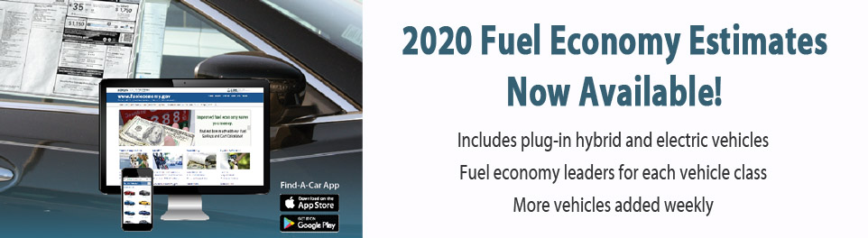2020 Fuel Economy Estimates Now Available!  Includes plug-in hybrid and electric vehicles.  Fuel economy leaders for each class. More vehicles added weekly
