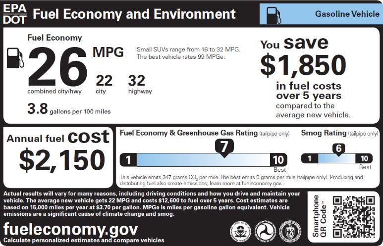Sample gasoline vehicle fuel economy label