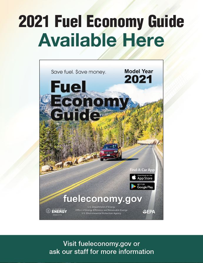 2019 Fuel Economy Guide Poster for Libraries Version 1: Photo of guide on blue background. Text reads as follows: 2019 Fuel Economy Guide Currently Available. Visit www.fueleconomy.gov or ask our staff for more information.