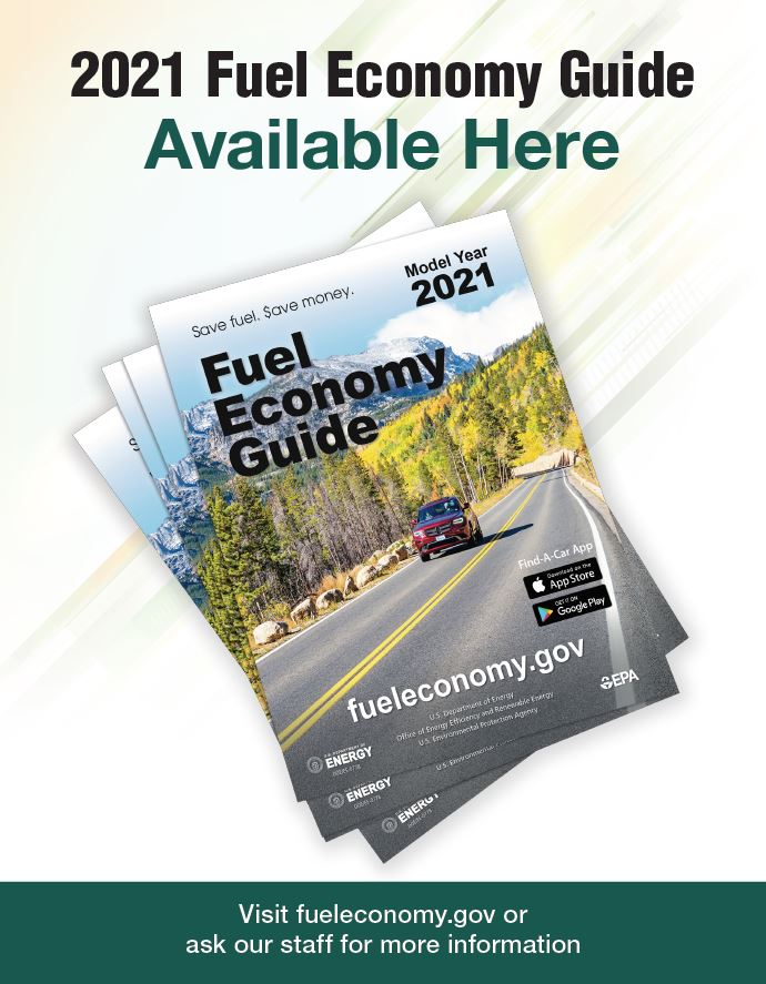 2019 Fuel Economy Guide Poster for Libraries Version 2: Photo of a stack of guides. Text reads as follows: 2019 Fuel Economy Guide Currently Available. Visit www.fueleconomy.gov or ask our staff for more information.