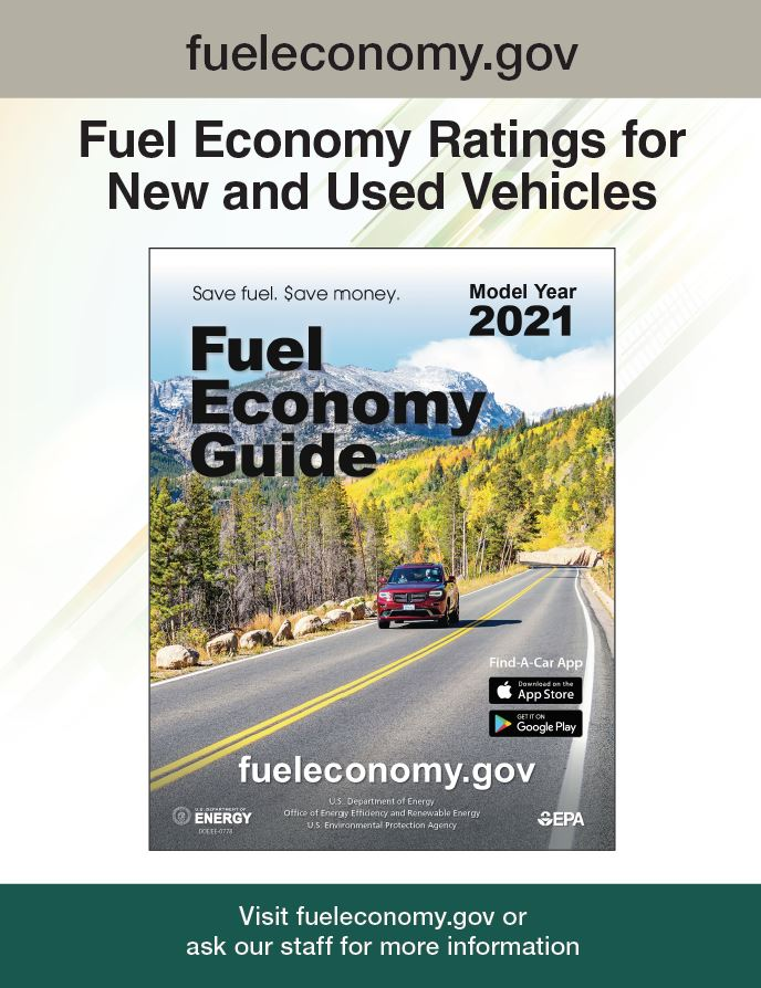 2019 Fuel Economy Guide Poster for Libraries Version 3: Photo of guide on blue background. Text reads as follows: www.fueleconomy.gov. Fuel Economy Ratings for New and Used Vehicles. Visit www.fueleconomy.gov or ask your librarian for more information.