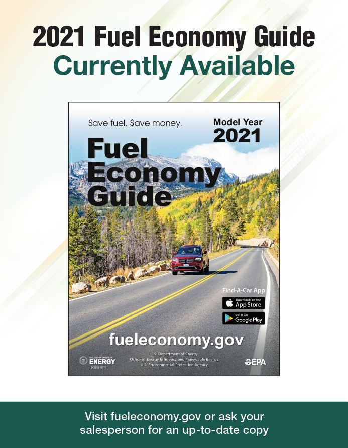 2019 Fuel Economy Guide Poster Version 1: Photo of guide on blue background. Text reads as follows: 2019 Fuel Economy Guide Currently Available. Visit www.fueleconomy.gov or ask your salesperson for an up-to-date copy.