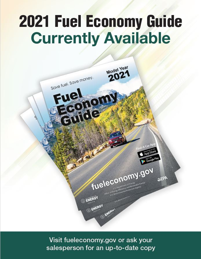 2018 Fuel Economy Guide Poster Version 2: Photo of a stack of guides. Text reads as follows: 2018 Fuel Economy Guide Currently Available. Visit www.fueleconomy.gov or ask your salesperson for an up-to-date copy.