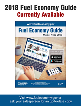 2018 Fuel Economy Guide Poster Version 4: Photo of guide on white background. Text reads as follows: 2018 Fuel Economy Guide Currently Available. Visit www.fueleconomy.gov or ask your salesperson for an up-to-date copy.